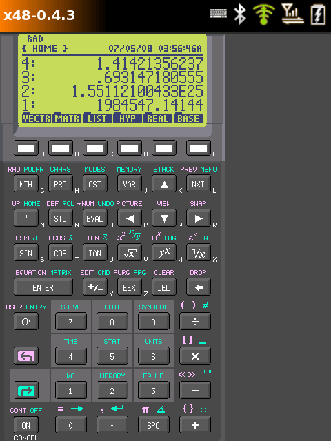 neo1973 emulating a HP 48GX calculator